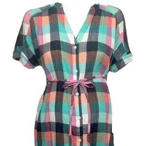 XXL NWT S Isabel Maternity Dolman Shirt Dress Orange Green Plaid XS